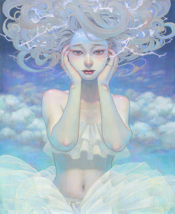 Miho Hirano painting of a girl with lightning in her pale hair.