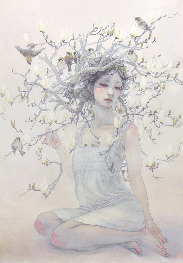 Miho Hirano painting of seated girl with magnolia tree growing from her hair.