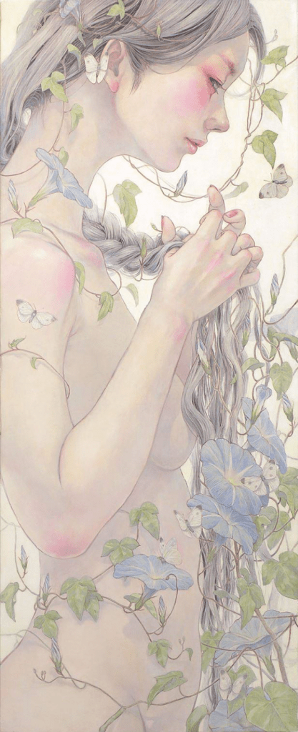 Miho Hirano painting of a girl with tight braids that are springing Morning Glory flowers.