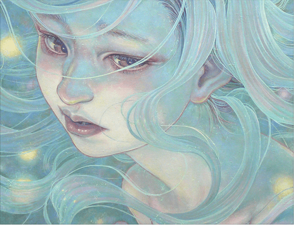 Miho Hirano girl with troubled expression, pale hair, and fairylights in her hair.