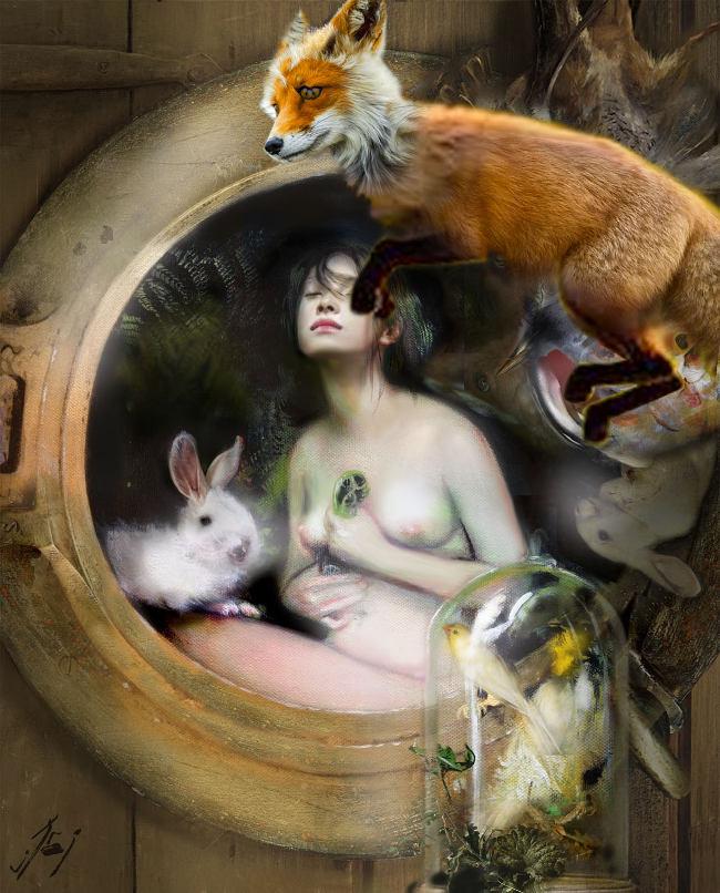 Iva Troj pop surreal nude painting