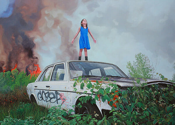 Kevin Peterson surreal dystopia childhood paintings
