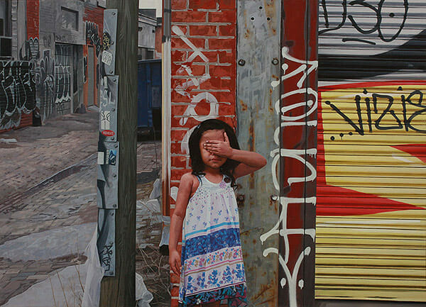 Kevin Peterson surreal urban portrait paintings