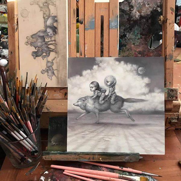 Mab Graves work in progress for Gaia Reborn art exhibition