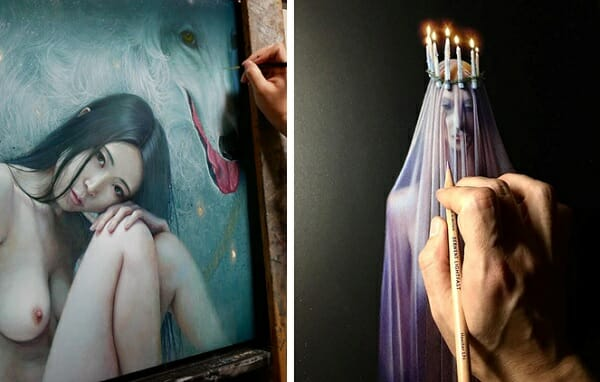 Yousake Kawashima & Troy Brooks work in progress for Gaia Reborn art exhibition