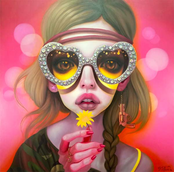 Young Chun artwork girl wearing sunglasses holding a flower  - What Are Your Top Tips for Others Who Wish to Be Creative but Feel Stuck?