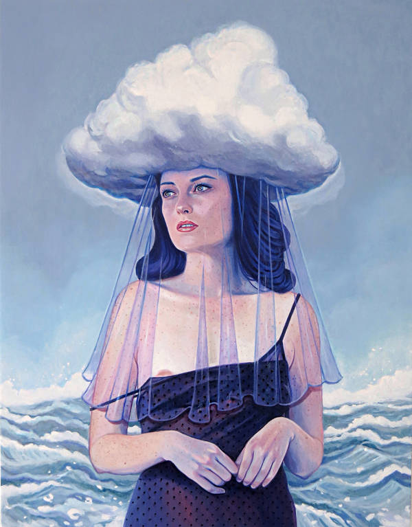 girl with cloud on her head