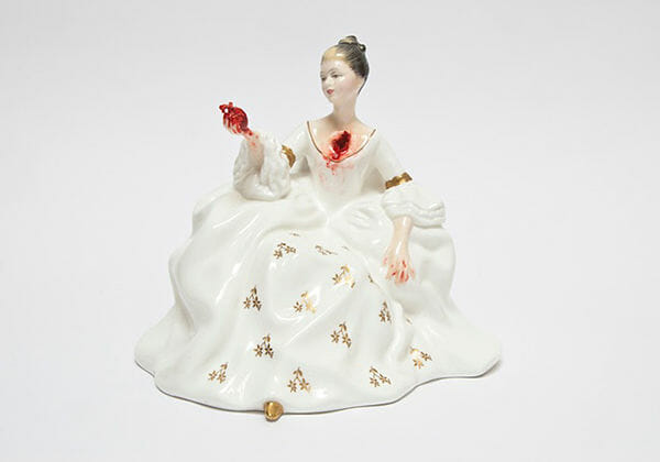 Jessica Harrison porcelain sculpture, modified, gore, internals exposed