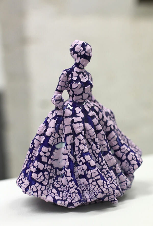 Jessica Harrison porcelain sculpture, modified, surface disruption, ink