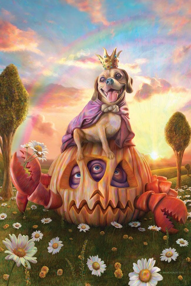 Jim McKenzie surreal artwork dog sitting on pumpkin