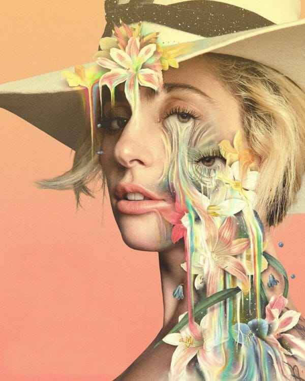 Pierre Schmidt - Lady Gaga woman flowers digital photography