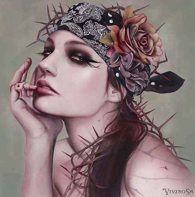Brian Viveros thorn crown smokey eye portrait painting