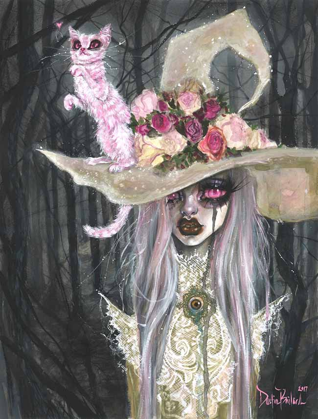 Dustin Bailard pop surreal witch and cat painting