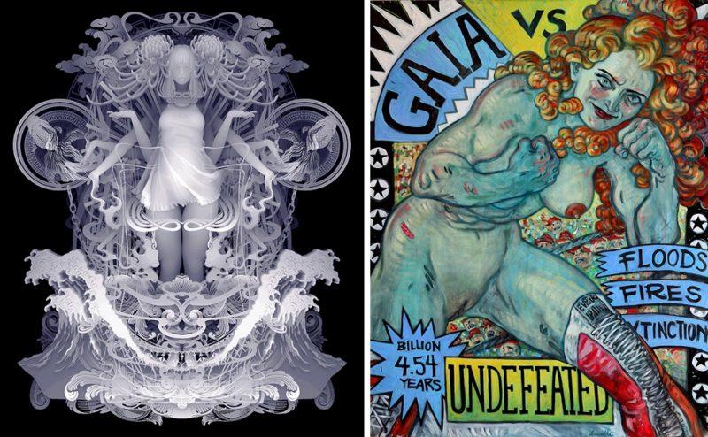 "[Left] Kazuki Takamatsu, ""The Choices for the Freedom"" 2019, Acrylic, acrylic gouache and giclee on tarpaulin, 72.7 cm x 60.9 cm [Right] Rebeca Leveille, ""The Champion"" 2019, Oil on Canvas, 45"" x 56.5"""