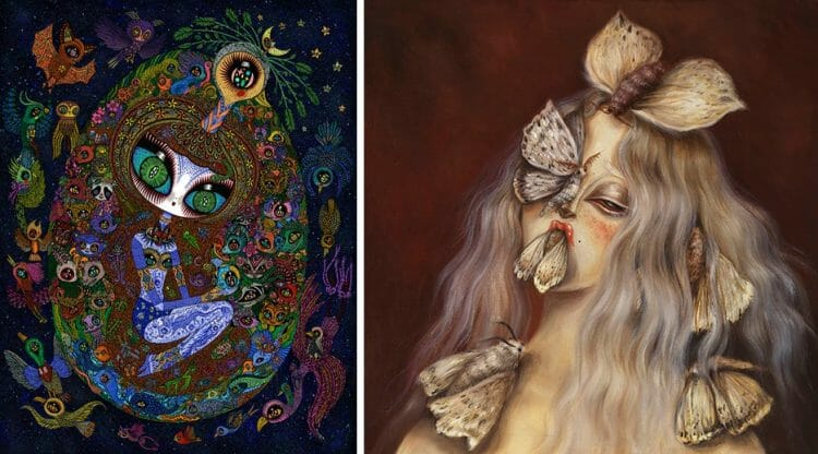 "[Left] Ciou, ""Cosmic Egg"" 2019, Acrylic, ink, paper on wood, 60 cm x 80 cm [Right] Miss Van, ""Moth Muse II"" 2019, Oil on Canvas, 60 cm x 60 cm"