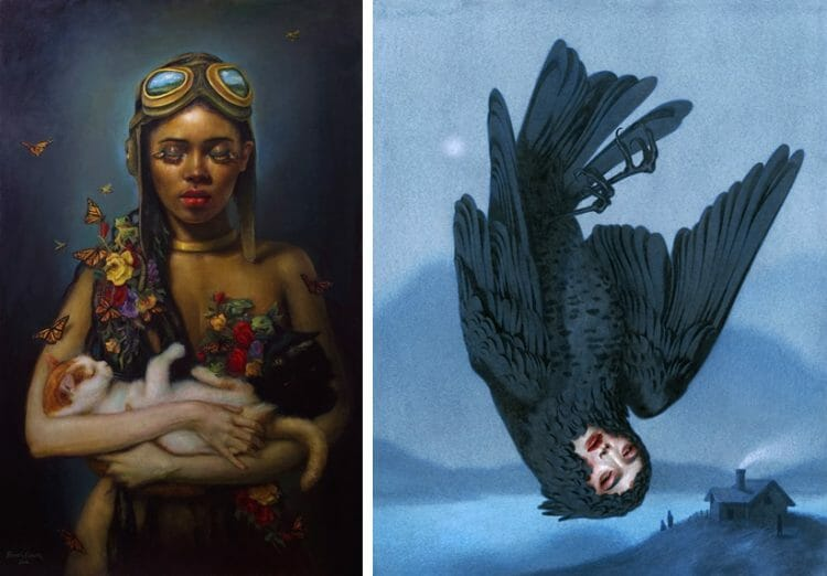 "[Left] Rose Freymuth-Frazier, ""Survivors"", 2019. Oil on linen, 32"" x 50"" [Right] Tran Nguyen, 'In the Dead of the Night', 2019. Acrylic and coloured pencil on watercolor paper, 11 x 14"""