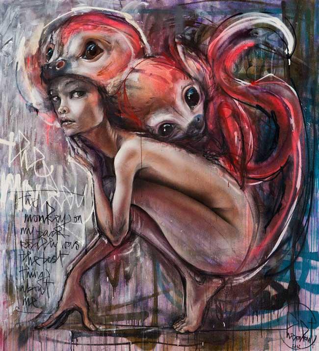 Herakut surreal nude graffiti painting