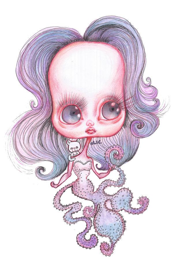 Opal Unicorn octopus girl drawing