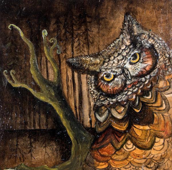 Opal Unicorn owl painting