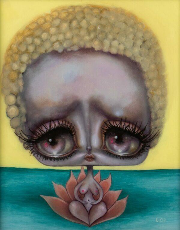 Opal Unicorn sad lotus alien-bot art