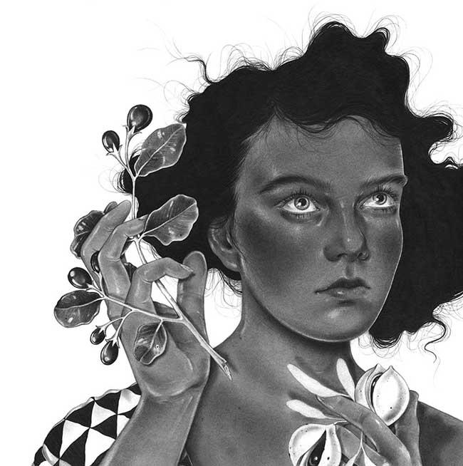 Nicomi Nix Turner surreal portrait drawing