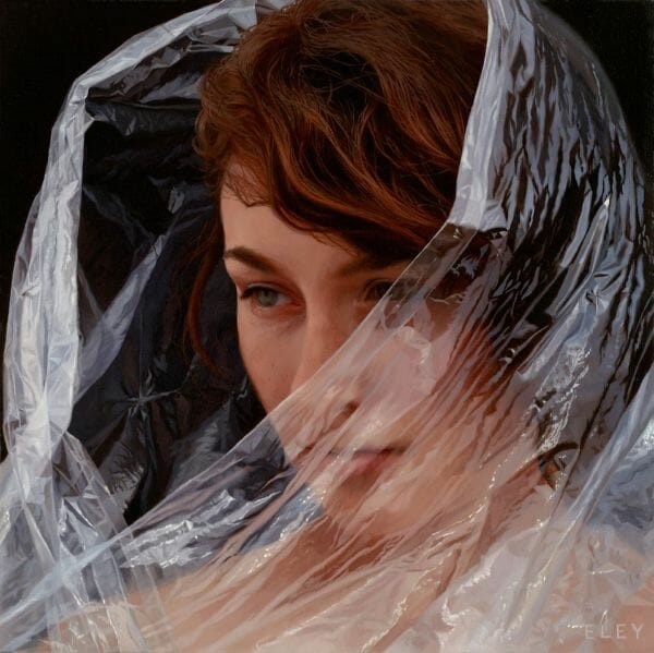 Robin Eley hyperrealistic painting woman red hair plastic veil