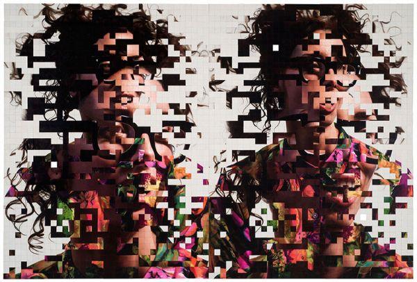 Robin Eley pixelized female eyeglasses painting