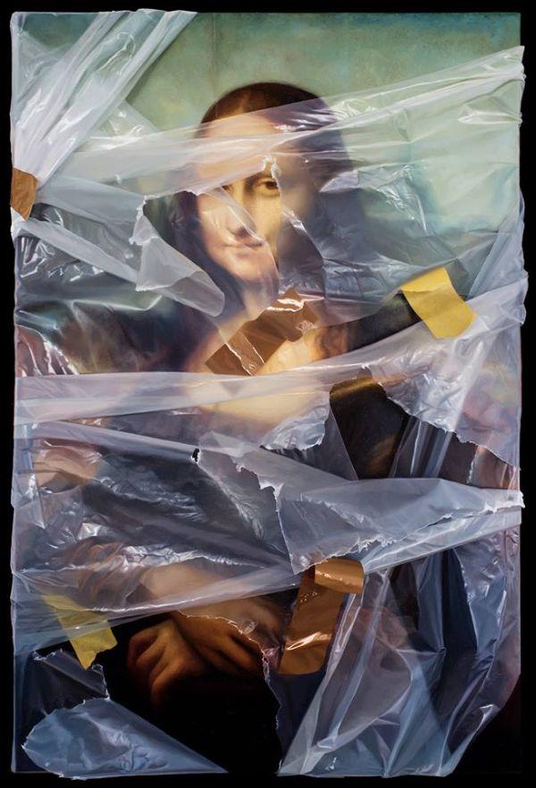 Robin Eley trompe l'oeil plastic wrapped Mona Lisa
