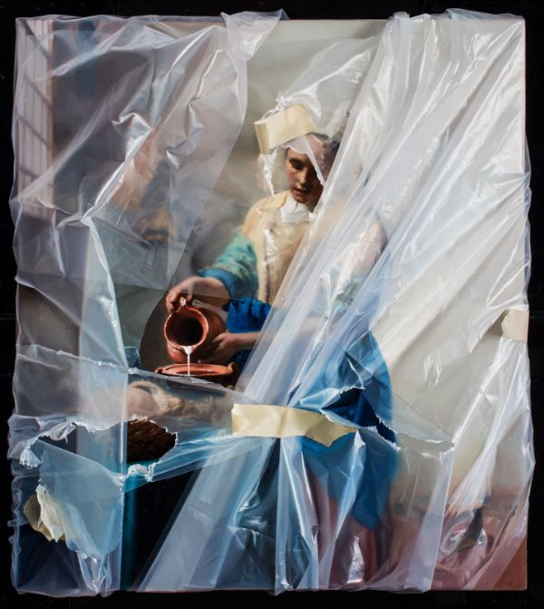 Robin Eley hyperrealistic plastic wrapped painting female pouring milkmaid portrait