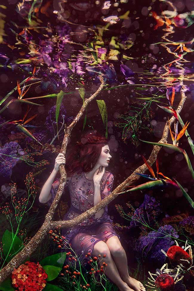 Beth Mitchell underwater flower portrait photography