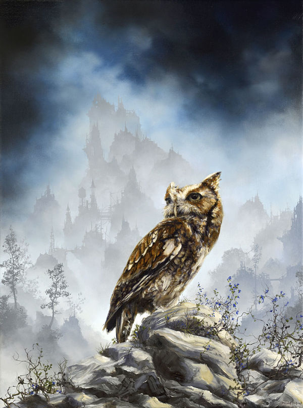 "Brian Mashburn, ""Red Morph Eastern Screech"", owl painting"