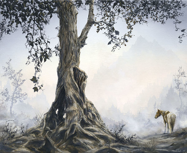 "Brian Mashburn, ""Old Tree with Horse"", oil on canvas"