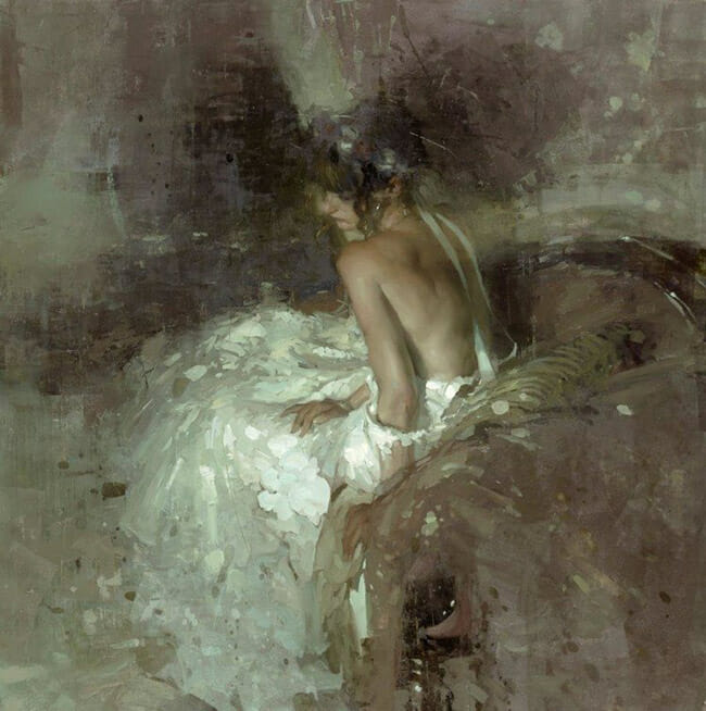 Jeremy Mann woman in white dress surreal painting