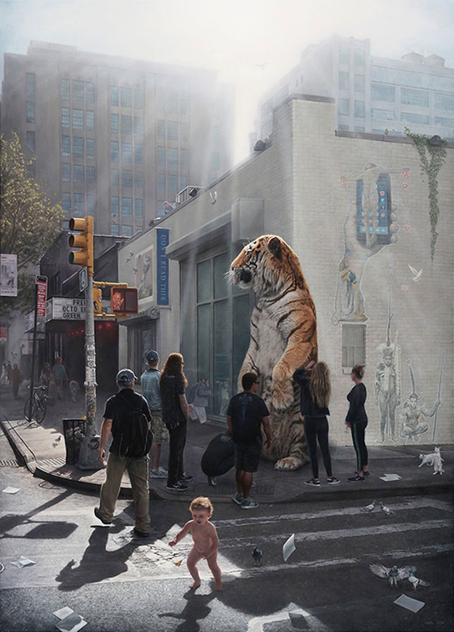 Joel Rea - Tiger and baby on a busy street surreal painting - What Is the Difference Between Selling Your Work Through a Gallery Rather Than Privately?