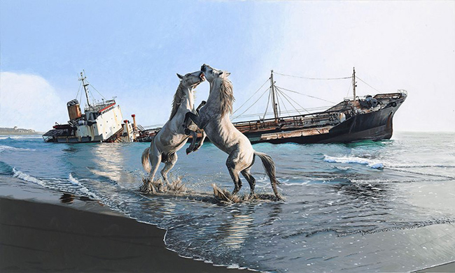 Josh Keyes I'll love you till the end of the world acrylic on wood panel horse painting - How Did You Overcome Expectations to Create Work in Your Unique Style?