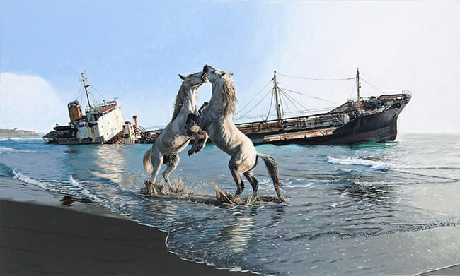Josh Keyes I'll love you till the end of the world acrylic on wood panel horse painting