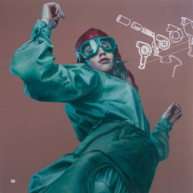 kathrin longhurst woman in flying goggles realism oil painting