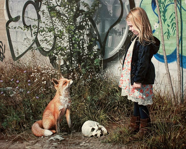 Kevin Peterson Girl and a fox looking at eachother