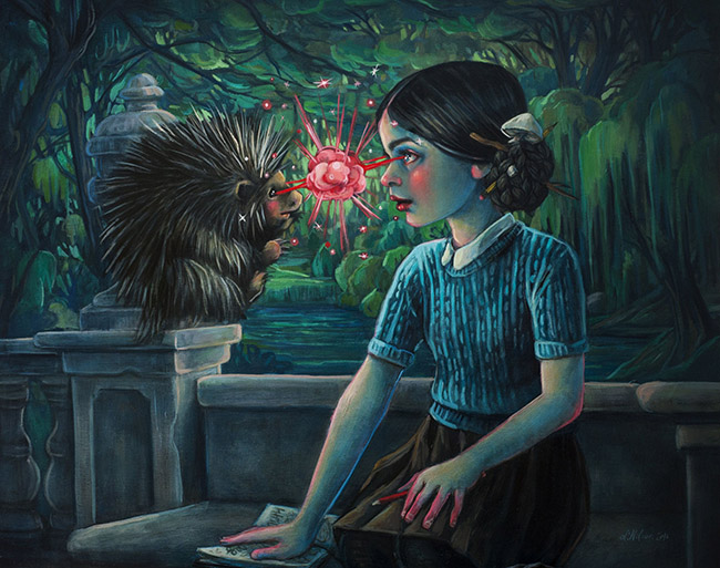 Lori Nelson pop surreal painting girl gazing into a hedgehogs eyes
