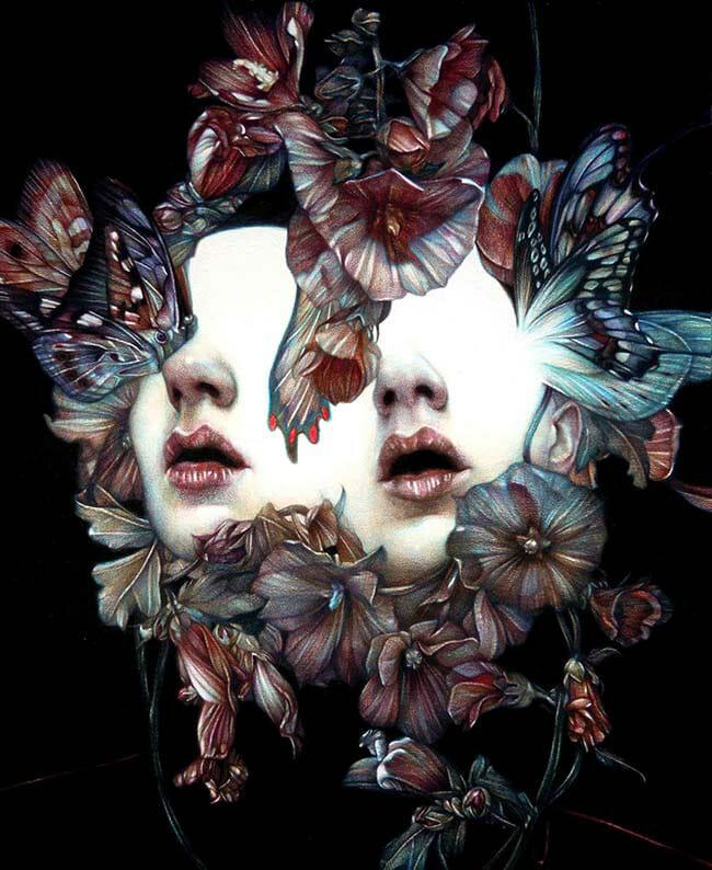Marco Mazzoni pop surreal butterfly portrait