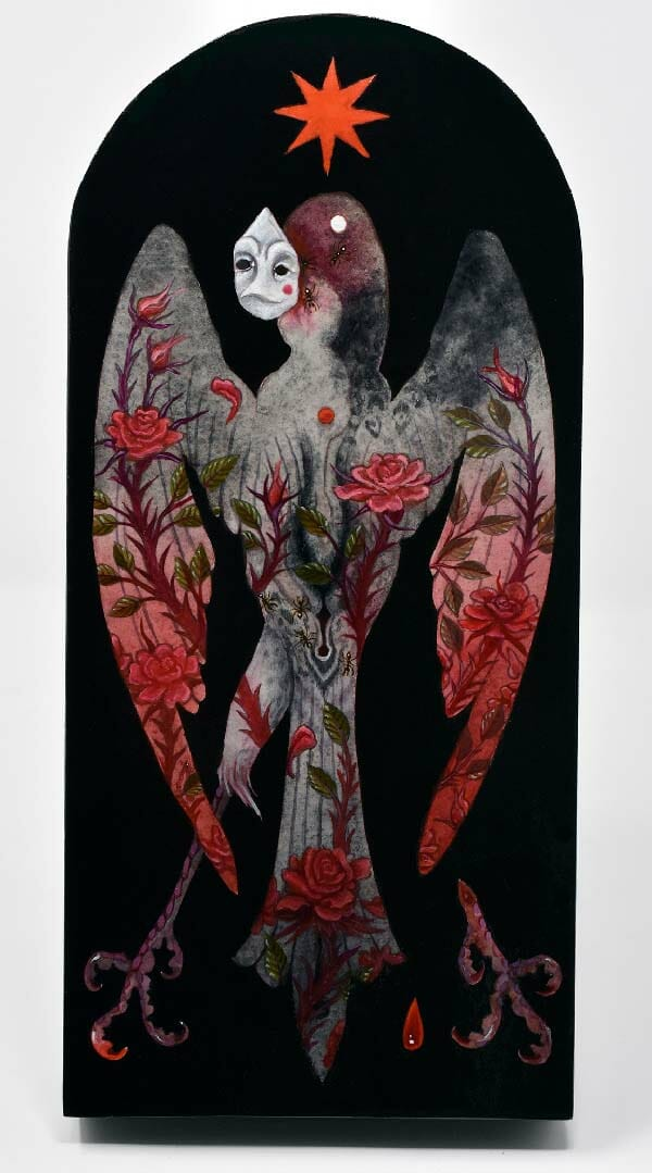Morgaine Faye painting of masked bird