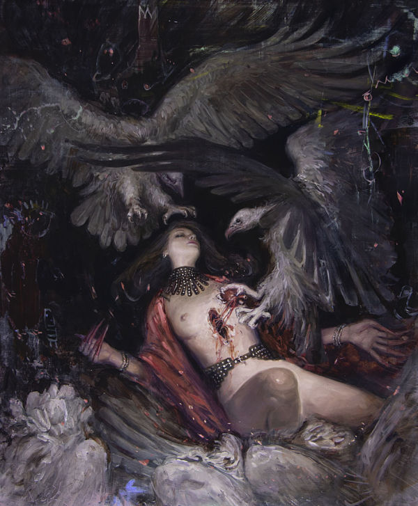 "Nadezda, ""The Descent"", dark art nude painting"