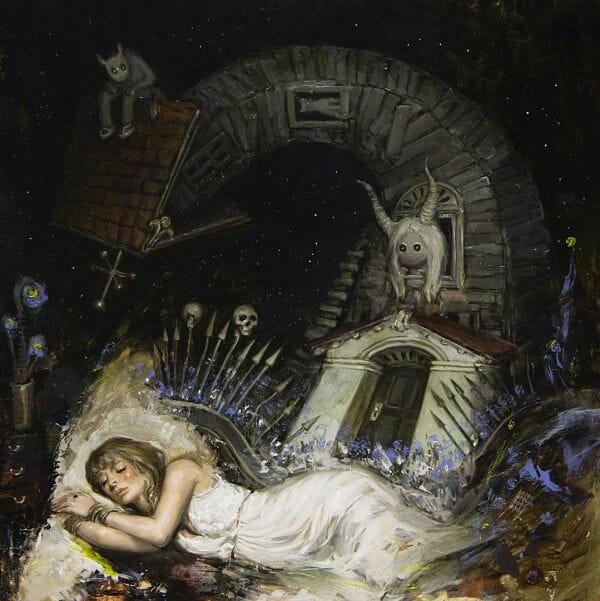 "Nadezda, ""Good Night"", oil on panel"