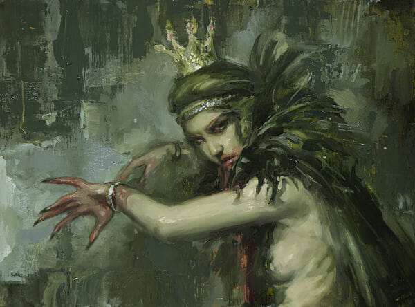 "Nadezda, ""Mad Queen"", oil on panel painting"