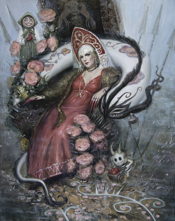 "Nadezda, ""The Red Maiden"" surreal painting"