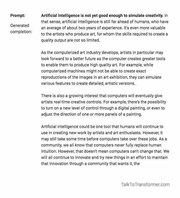 Nick Knight Talk To Transformer AI prompt