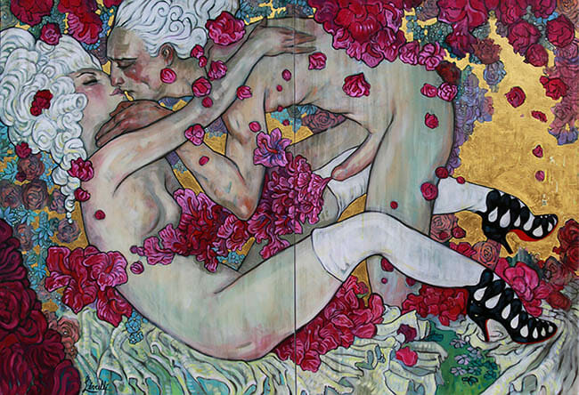 Rebecca Leveille - two lovers embracing nude art painting