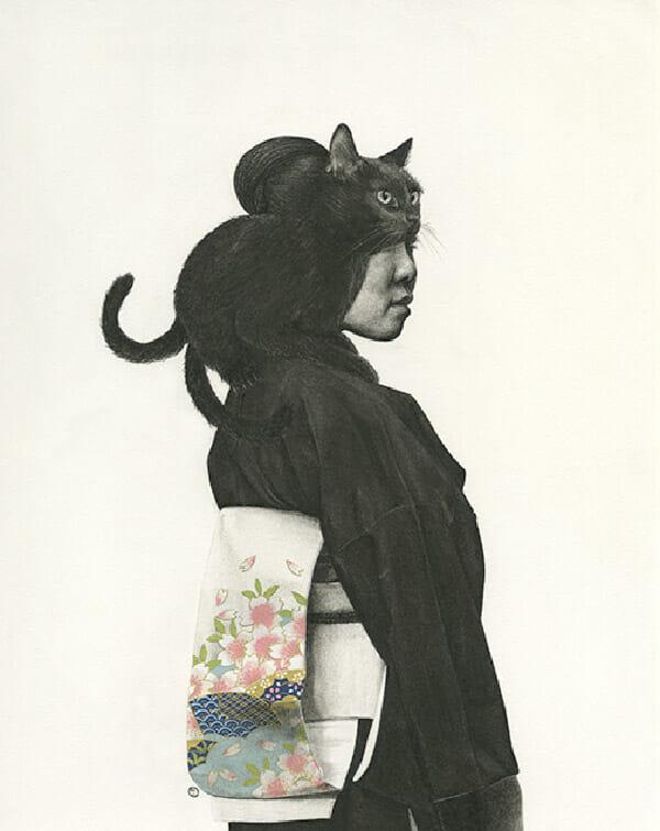 Stephanie Inagaki two tailed cat kimono drawing