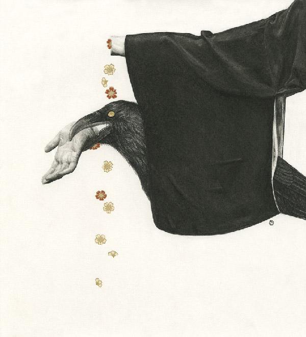 Stephanie Inagaki crow decapitated hand drawing