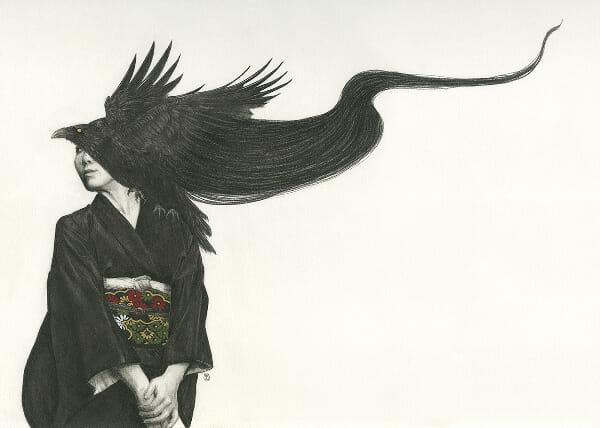 Stephanie Inagaki crow hair kimono drawing